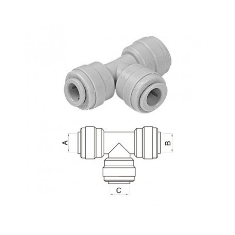 "Raccordi T ad innesto rapido DM fit - Ø tubo (A)1/4"" x (B)1/4"" x (C)1/4"""